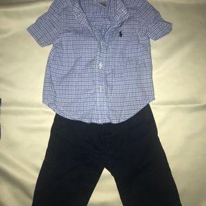 Ralph Lauren shirt and khakis navy 12 mths